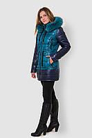 Зимняя женская двухцветная водонепроницаемая парка с натуральным мехом на двойном синтепоне 90116/3