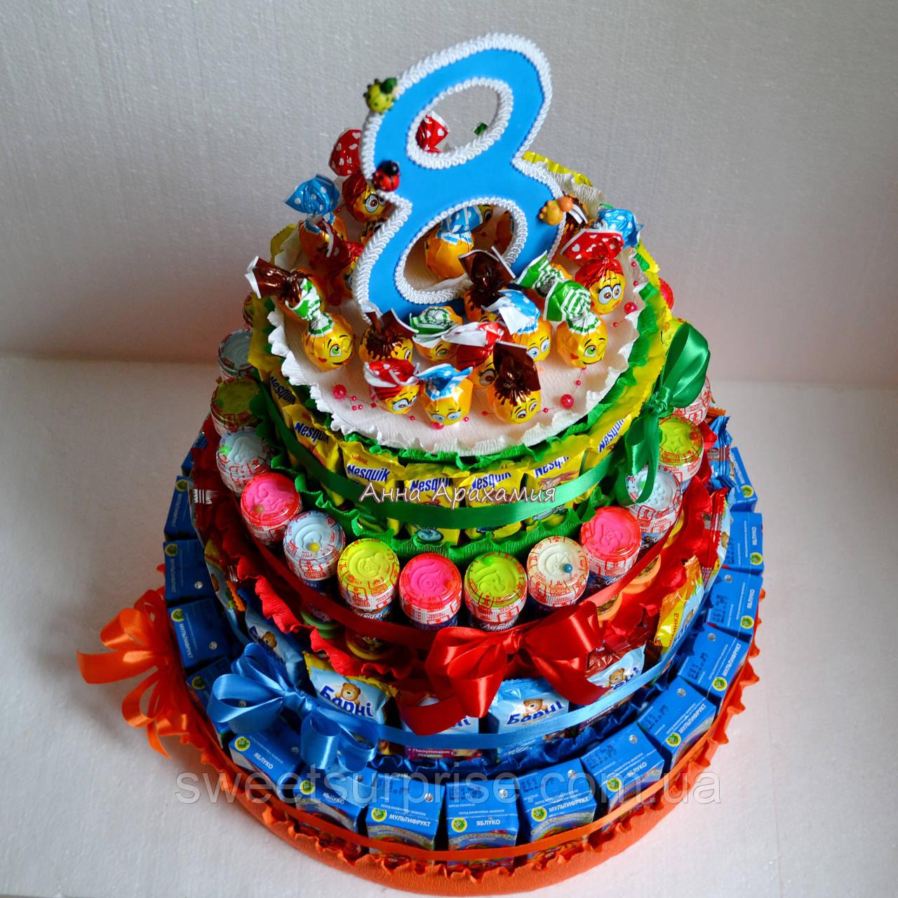 """Торт в детский сад из сока и конфет """"Барни"""" (для мальчика)"""