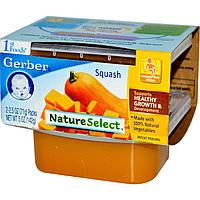 Детское пюре из тыквы мускатной, (NatureSelect), первая еда, Gerber, 2 шт. по 71 г