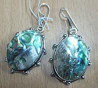 """Серебряные серьги с галиотисом """"Черепаха"""", фото 1"""