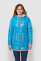 Зимняя теплая водонепроницаемая женская куртка со съемным капюшоном на двойном синтепоне 90117/2
