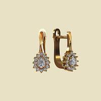 Красивые деловые золотые сережки 585* с цирконием