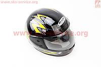 Шлем закрытый HF-101 S- ЧЕРНЫЙ глянец с желтым рисунком