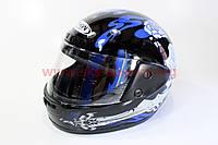 Шлем закрытый HF-101 S- ЧЕРНЫЙ с синим рисунком