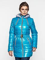Зимняя удобная длинная женская теплая водонепроницаемая стеганая куртка на двойном синтепоне 90118/1, фото 1