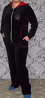 Женский велюровый костюм  с капюшоном