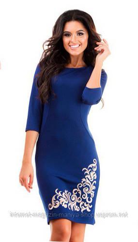 Платье женское вышивка батал