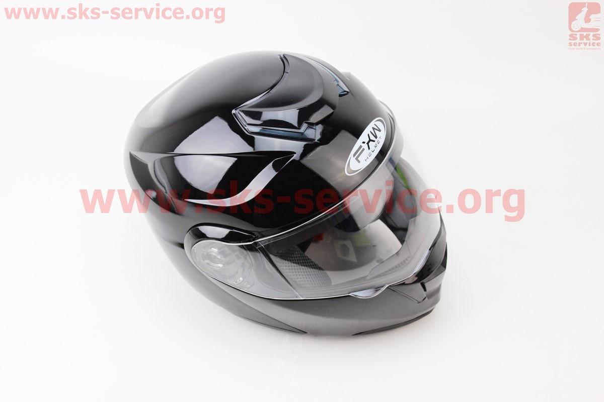 Шлем закрытый с откидным подбородком+очки HF-119 S- ЧЕРНЫЙ глянец