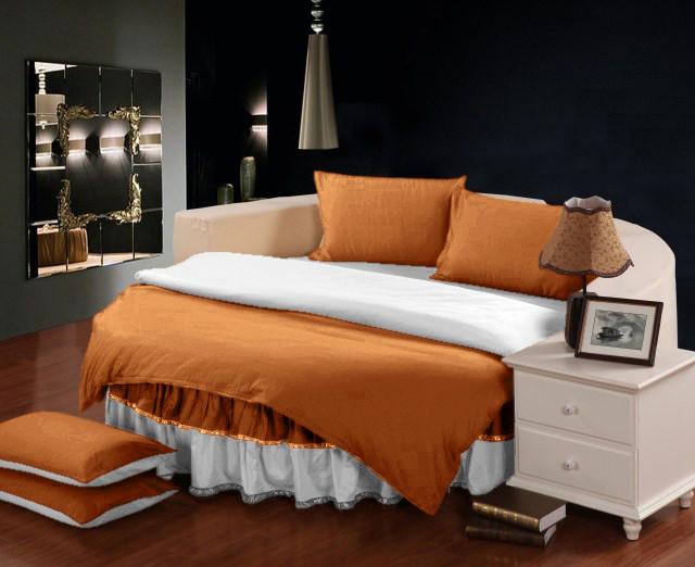 Постельный Комплект на Круглую кровать с цельной простынью - подзором  Медовый + Белый