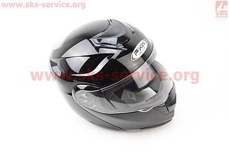 Шлем закрытый с откидным подбородком+очки HF-119 М- ЧЕРНЫЙ глянец
