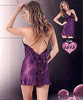 Атласная ночная сорочка короткая Jasmin 1618