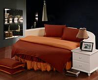 Круглая кровать. Постельное белье с цельной простынью - подзором Винный + Медовый