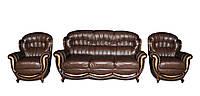 """Комплект мягкой кожаной мебели """"Джове"""": диван с двумя креслами"""