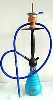 Немецкий кальян AMY Delux 690 + Hot Screen черная матовая шахта с синей колбой