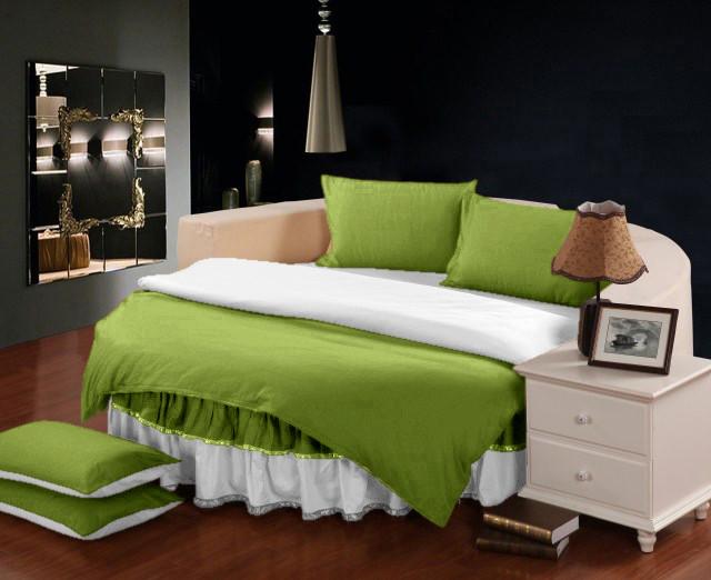 Круглая кровать. Постельное белье с цельной простынью - подзором Салатовый + Белый