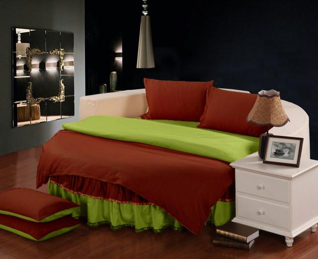 Постельное белье с цельной простынью - подзором на Круглую кровать Винный + Салатовый