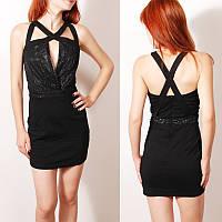 Смелое коктейльное платье с блестящим верхом и декоративным вырезом   DR35017  ONENESS