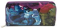 Стильный недорогой фиолетовый женский кошелек барсетка на молнии с цветами