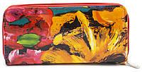 Стильный недорогой красный женский кошелек барсетка на молнии с цветами