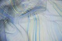 Ткань Vals органза в полоску (крем,горч.,сирень,голубой)