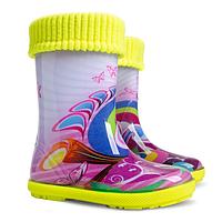 Сапоги резиновые детские Demar Hawai Lux Exclusive- Хиппи фиолет.