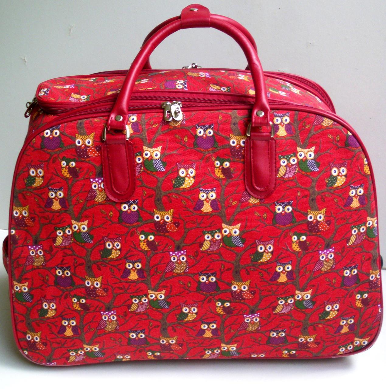 9de4de43728f Дорожная сумка на колесах, среднего размера, тканевая - красная сова ...