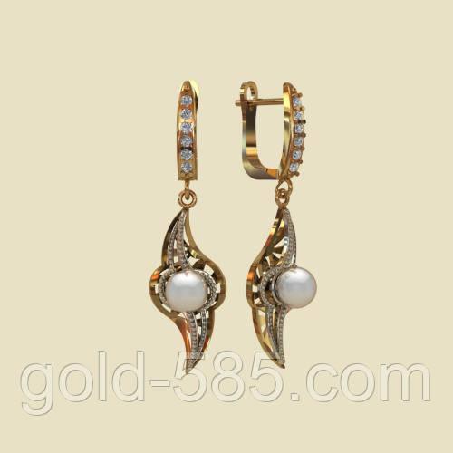 Стильные удлиненные золотые сережки 585  с жемчугом, цена 6 257 грн ... 908395b4a9c