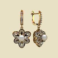 Радужные золотые сережки 585* с жемчугом