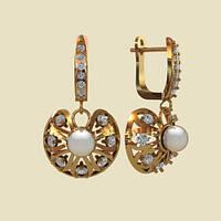 Сияющие золотые жемчужные сережки 585* пробы