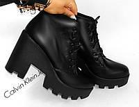 Женские осенние ботинки от TroisRois из натуральной турецкой кожи на шнурках 11, Натуральная кожа, TroisRois, Черный