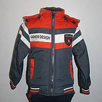 Куртка демисезонная для мальчика 3-6 лет. Цвет серый+оранжевый