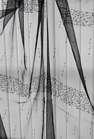Ткань  органза  ASCOLI чёрная с поедками