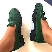 Стильные женские комфортные туфли- лоферы от TroisRois  из натурального турецкого замша 2.5, Без застежки, Натуральная кожа, Зеленый