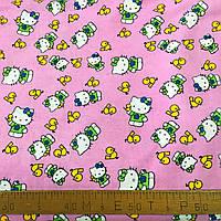 Фланель (байка) Китти Hello Kitty на розовом, фото 1