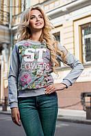Стильный женский свитшот с цветочным принтом