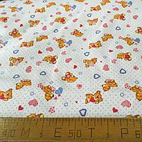 Фланель (байка) с мишками с голубыми и розовыми сердечками на белом фоне в точечку, ширина 195 см, фото 1