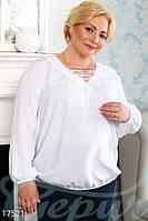 Белая блуза с длинным рукавом 52,54,56,58 р