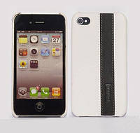 IMOBO leather back cover for iPhone 4/4S, white/black (HCIP-02WB)