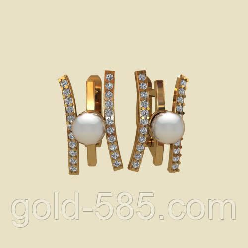 Стильные золотые серьги 585  с жемчугом, цена 4 270 грн., купить в ... acbfcdc7acc