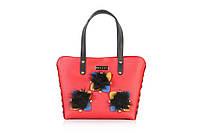 Стильная Итальянская кожаная сумка красного цвета Chiara