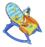 Детский шезлонг качалка 7179 Joy Toy, до 18 кг, с дугой и игрушками, музыкальный