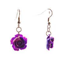 """Серьги-подвески """"Роза-1,5"""" фиолетовая полимерная глина 35*15mm"""