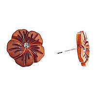 """Серьги-гвоздики нат. перламутр со стразом """"ШоколадныйЦветок"""" серебристый металл, Ø20mm"""