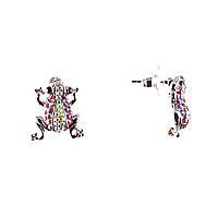 """Серьги пусеты """"Лягушки"""" украшены белыми и розовыми стразами, металл """"серебро""""\ 20×17mm"""