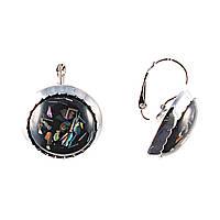 Серьги Ночь, с вкраплениями перламутра на черном фоне(металл под серебро)5,5см