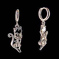 Серьги подвески Кошки,эмаль и стразы, металл под серебро, 3,7см
