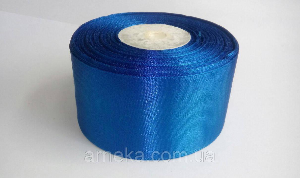 Стрічка атласна 5 см синя
