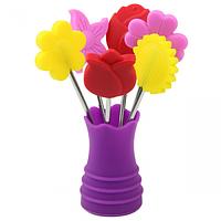 Набор вилок коктейльных Цветы (длина-10см)