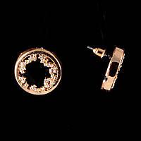 Серьги-пусеты Черное озеро, черная эмаль и светлые стразы, металл под золото, 22мм