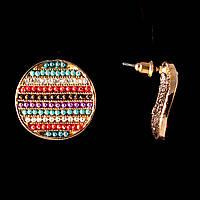 Серьги-пусеты  Монетки, цветные стразы, металл под золото, 25мм
